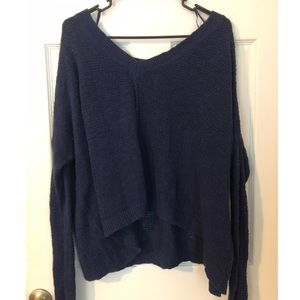 Aerie Blue Knit V-Neck Sweater